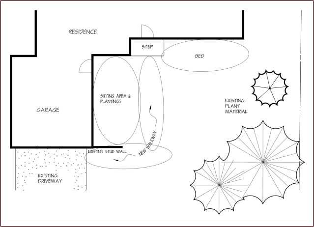 The site itself often determines where a particular landscape element is most appropriately situated. In this example, the house, the garage and the existing wall create a semi-enclosed space perfectly suited to a sitting area.
