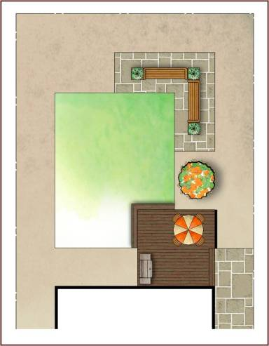 A good design concept will have a hierarchy of spatial sizes with one dominant space. Here the lawn area in the centre is dominant as it is the largest design space.