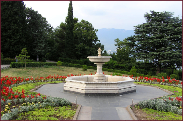 Gardens at the Livadiya Palace, Crimea, Ukraine.