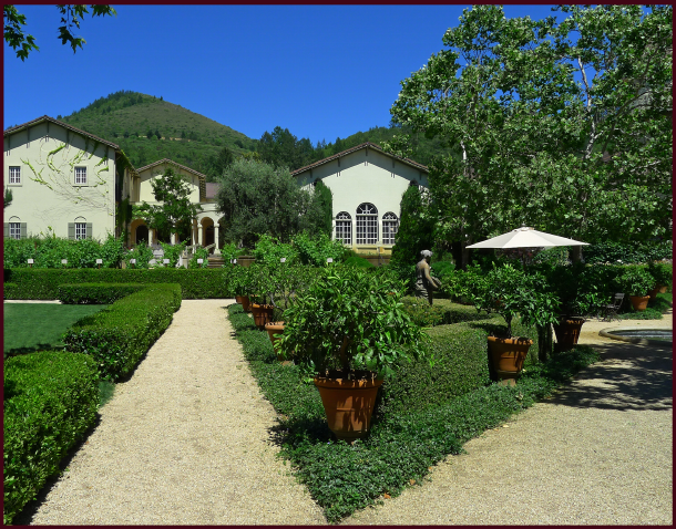 Chateau Ste. Jean, a Sonoma winery, boasts beautifully landscaped grounds - Mediterranean inspired in the Italian Renaissance style, with classical statuary, parterres and hedging, archways and rustic pergolas. Photo: Sue Gaviller