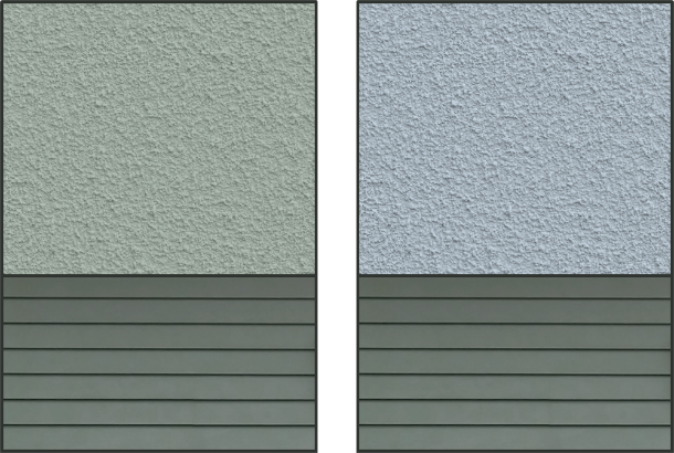 Left: Gray siding and gray painted stucco have the same hue hence present a cohesive combination. Right: Gray siding and stucco have different underlying hues thus appear less connected.