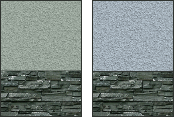 Stone siding, because it has both warm and cool underlying hues, is more forgiving of its accompanying colours – while the warmer gray is still a better match, the cool gray does work.