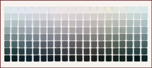 Munsell's Grays: each of these colour chips if seen on it's own, would appear gray – seen together though it becomes obvious that they aren't true grays. In fact they represent the first step of saturation for 20 hues at 8 different values.