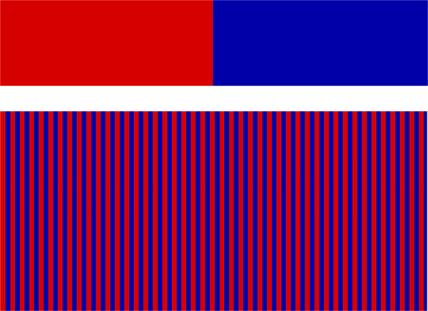 When small strips of red are interspersed with small strips of blue (bottom), the colours look more alike than they actually are (top). Assimilation causes the red to appear more blue and the blue to appear more red.